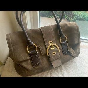Coach suede green/tan shoulder bag  purse 14X8